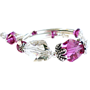 Sterling Silver Bangle Tube Bracelet with Swarovski Crystals in Fuchsia and Silver Shade