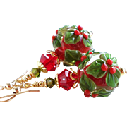 SOLD Holiday Themed Red and Green Holly Berry Lampwork Earrings