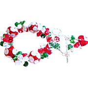 Red Green and White Lampwork Glass and Swarovski Crystal Holiday Themed Cluster Bracelet