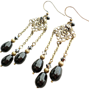 Vintage Inspired Aged Brass Chandelier Earrings With Black Swarovski Faux Pearls and Crystals