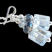 Swarovski Crystal Blue Shade Dangle Earrings
