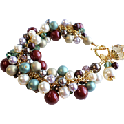 SOLD Swarovski Faux Pearl and Crystal Charm Bracelet