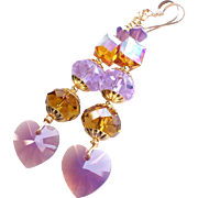Swarovski Crystal 3 Inch Long Heart Motif Dangle Earrings in Purple and Topaz Shades
