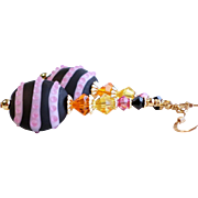 Pink and Black Lampwork Earrings With Colorful Swarovski Crystal Accents