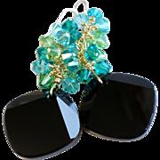 Swarovski Crystal Metro Cut Statement Earrings In Black, Teal and Peridot Green Shades
