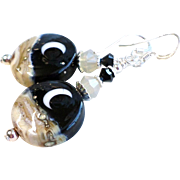 Moon and Night Sky Lampwork Earrings With Sterling Silver Accents