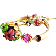 Floral Lampwork 14KT Gold Filled Bangle Tube Bracelet With Swarovski Crystals