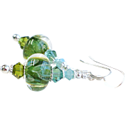 Blue and Green Boro Lampwork Glass Dangle Earrings