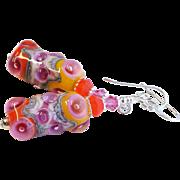 Orange and Pink Lampwork Earrings With Swarovski Crystals