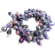 SOLD Custom Order for L.E. - Purple and Gray Crystal and Faux Pearl Charm Bracelet