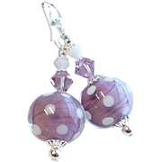 Soft Purple and White Polka Dot Lampwork Earrings With Swarovski Crystals