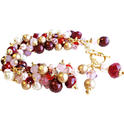Red, Pink, Gold and Cream Colored Valentine's Day Inspired Swarovski Crystal and Faux Pearl Ch