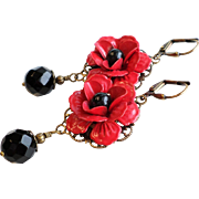 Red and Black Enamel Metal Rose Dangle Earrings With Black Onyx