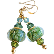 Blue and Green Boro Glass Dangle Earrings With Swarovski Crystals and Gold Filled Ear wires