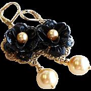 Black Enamel Rose Dangle Earrings With Gold Swarovski Faux Pearls