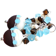 Dark Brown, Aqua and Ivory Lampwork Earrings