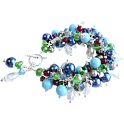 Blue, Green and Purple Multi Colored Charm Bracelet With Crystals, Faux Pearls and More