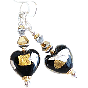 Venetian Glass Heart Earrings With 22KT Gold and Silver Foil Accents