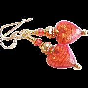 Venetian Glass Heart Earrings With 22KT. Gold Foil Accents