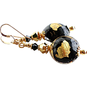 Black Venetian Glass Earrings With 22Kt Gold Foil and Swarovski Crystals