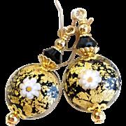 Venetian 22KT Gold Foil Beads With Black Swarovski Crystals
