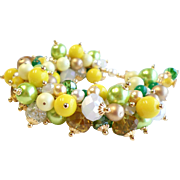 SOLD Yellow, Green and Gold Swarovski Crystal and Swarovski Faux Pearl Fully Loaded Charm Brac