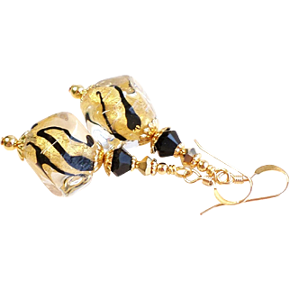 Gold Foil 22KT and Black Venetian Bead Earrings With Swarovski Crystals