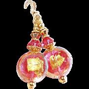 Rubino Pink and 22KT Gold Foil Venetian Glass Bead Earrings
