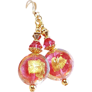 Rubino Pink and 22KT Gold Foil Venetian Glass Bead Earrings