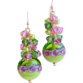 Pink and Green Lampwork Earrings With Swarovski Crystals and Glass Pearls