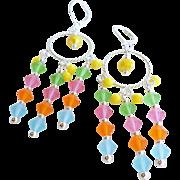 Bright Colored Matte Czech Crystal Chandelier Earrings