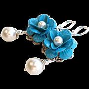 Blue Enamel Rose Flower Earrings With White Faux Swarovski Pearls