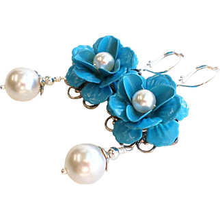 Blue Enamel Rose Flower Earrings With White Faux Swarovski Pearls