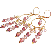 Swarovski Crystals and Czech Glass Bead Chandelier Earrings In Soft Rose Shades