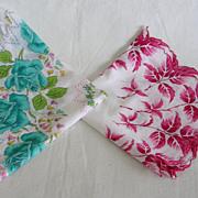 Vintage Cotton Handkerchief Hanky Pair