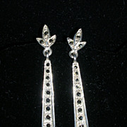 SALE Sleek Sterling Silver and Marcasite Drop Earrings