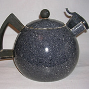 Unique and Rustic Vintage Graniteware Teapot