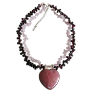 SALE Garnet Rose Quartz Bead and Heart Rhodonite Chunky Gemstone Necklace