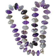 SALE Large Natural Amethyst Polished Rondelle Bead Necklace