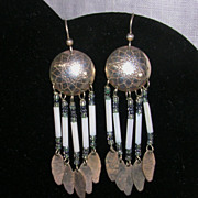 Southwestern Design Sterling Silver Stamped Disc Beaded Dangle Earrings