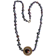 SALE Captivating Peacock Keishi Freshwater Pearl, Amethyst and Shell Necklace