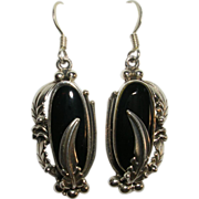 Sterling Silver Black Onyx Handmade Earrings Signed