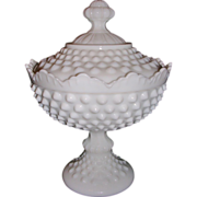 Fenton White Glass Hobnail Scalloped Covered Candy Dish