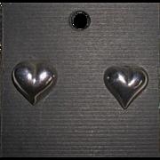 Sterling Silver Puffy Heart Post Earrings