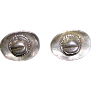 Sterling Silver Western Cowboy Hat Screw Back Earrings