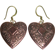 Pretty Etched Copper Heart Earrings
