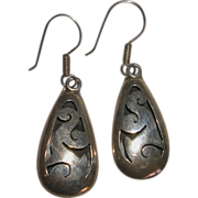 Sterling Silver Mexico Cut Through Dangle Earrings