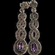 SALE Vintage Sterling Silver Amethyst and Marcasite Earrings