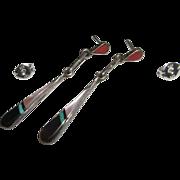 Petite Sterling Silver Zuni Inlay Earrings