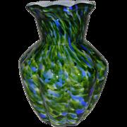 Vintage Fenton Adventurine Green Blue Vasa Murrhina Cased Spangle Glass Vase